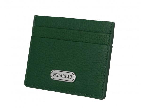 Porta carte di credito in pelle verde side