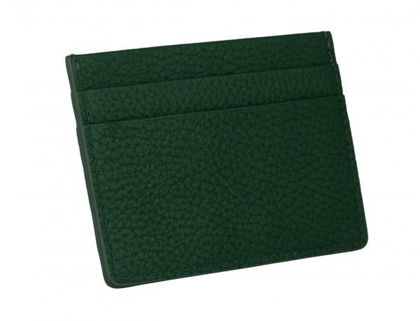 Tarjetero de piel en color verde detrás