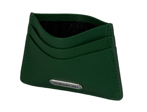 Leather credit card holder in green inside