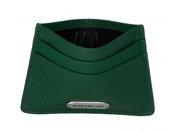 Leather credit card holder in green open