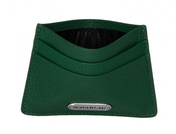 Tarjetero de piel en color verde dentro