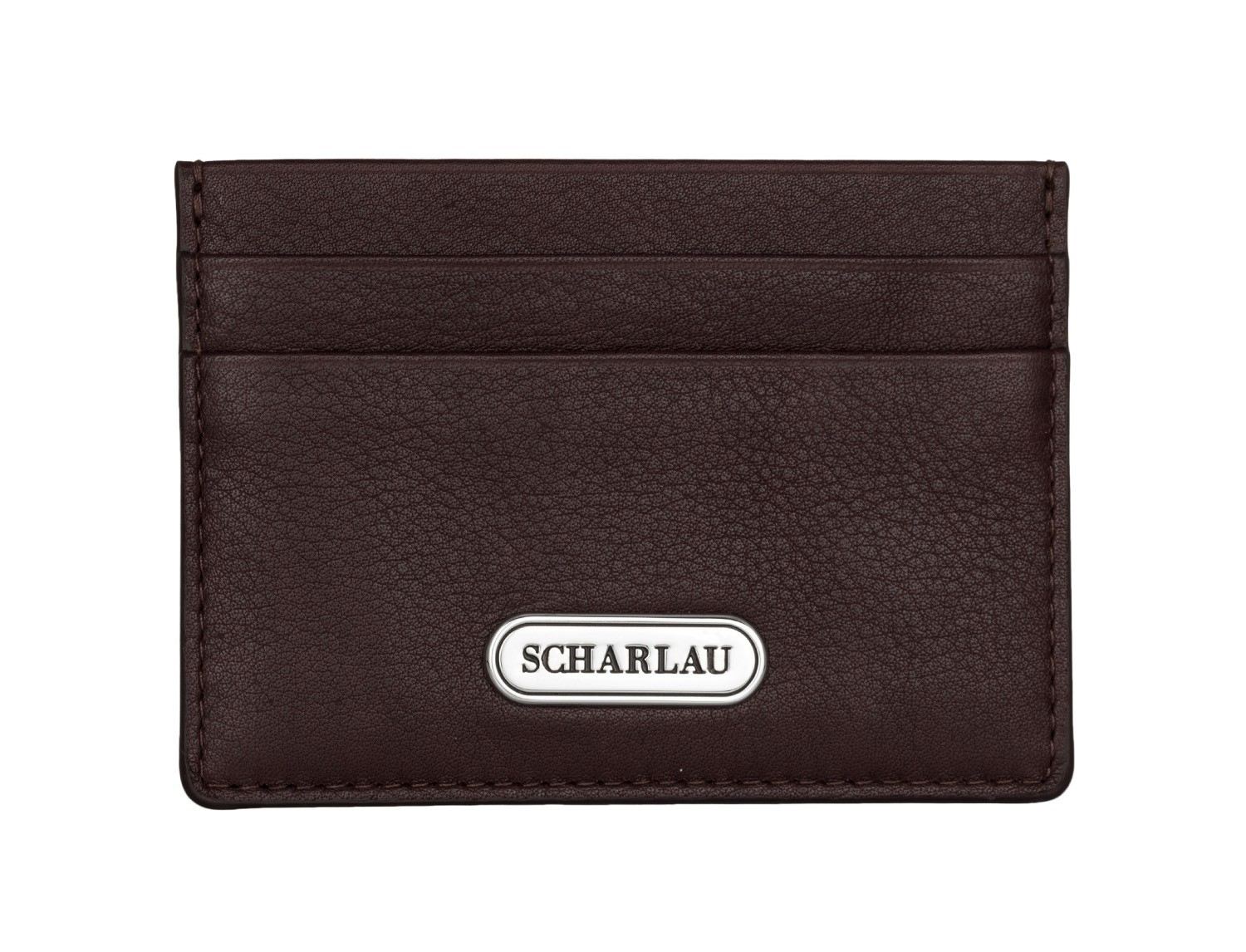 Leather credit card holder in burgundy front