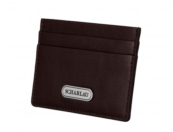 Leather credit card holder in burgundy side