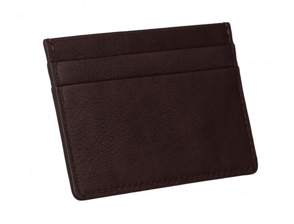 Leather credit card holder in burgundy back