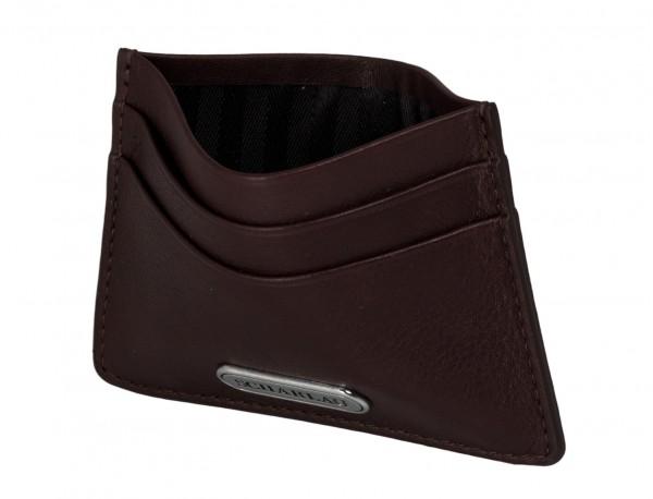 Leather credit card holder in burgundy inside