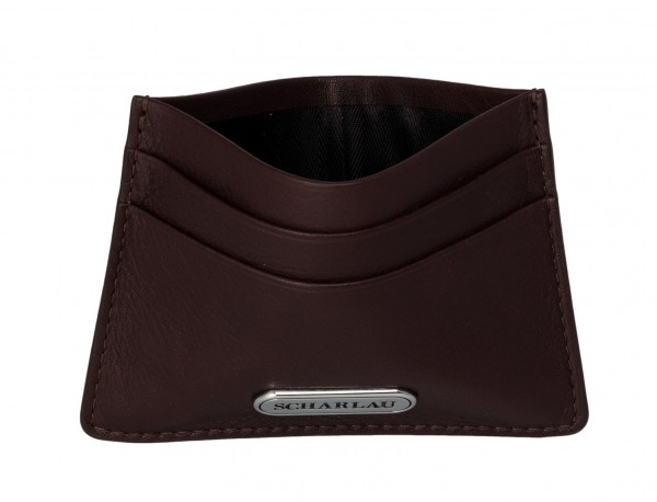 Leather credit card holder in burgundy open