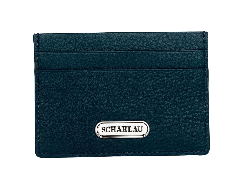 Porta carte di credito in pelle blu con logo front
