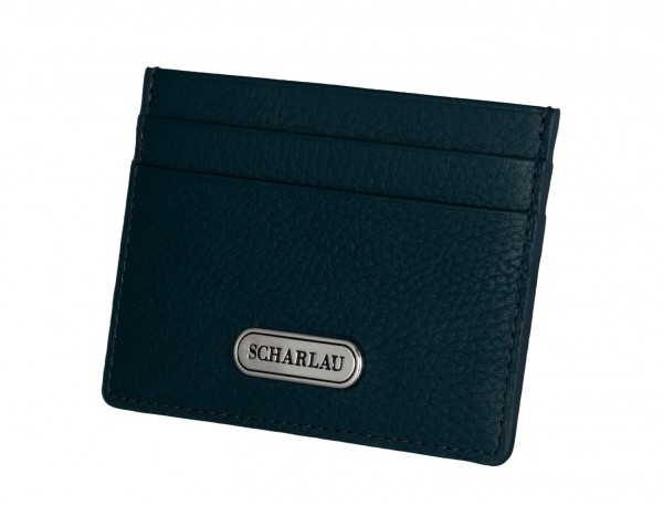 Leather credit card holder in blue side