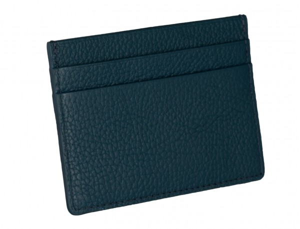 Leather credit card holder in blue back