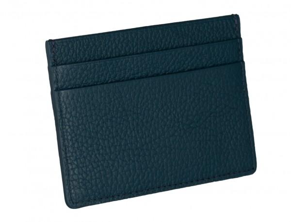 Porta carte di credito in pelle blu con logo back