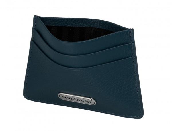 Porta carte di credito in pelle blu con logo inside