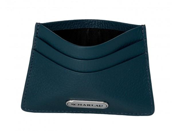 Leather credit card holder in blue inside