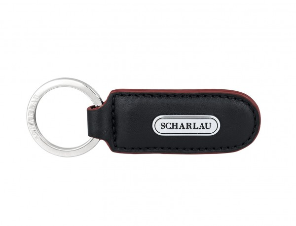 Leather elongate keyring in black with red front