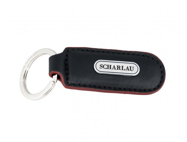 Leather elongate keyring in black with red side