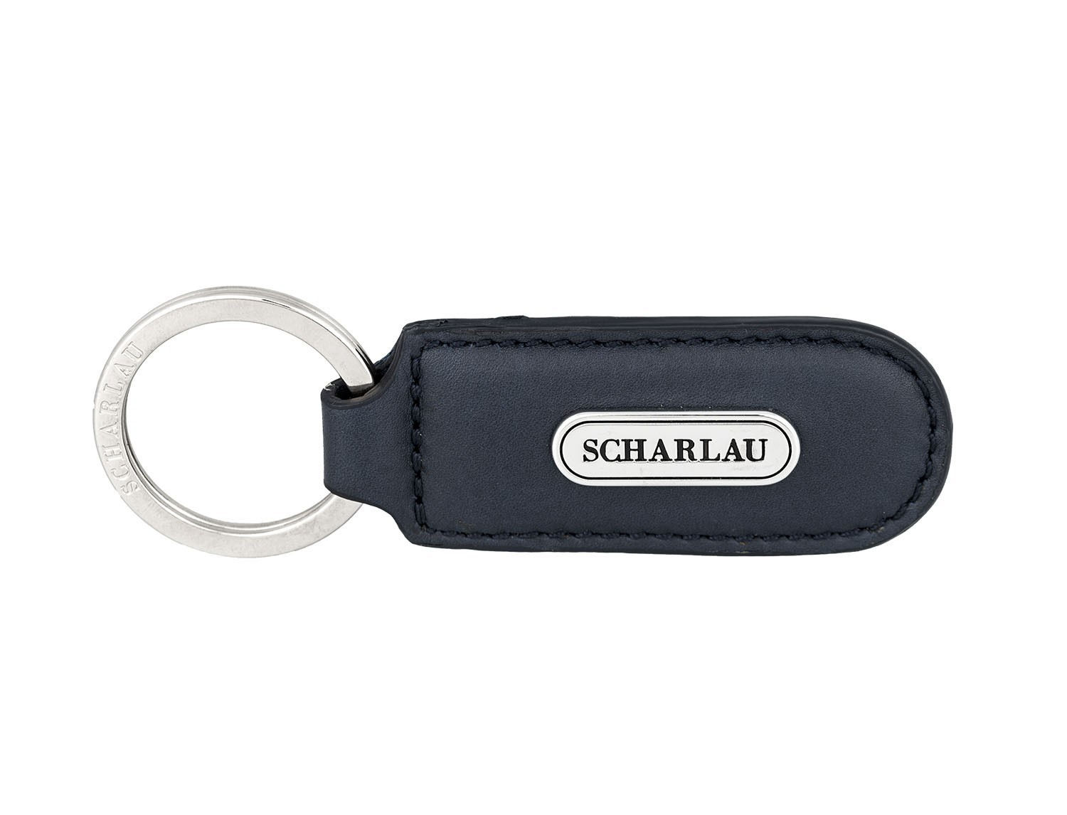 Leather elongate keyring in blue front