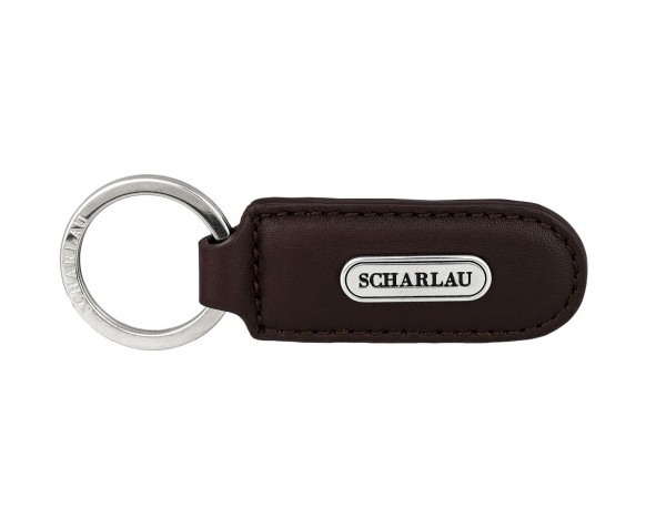 Leather elongate keyring in burgundy front