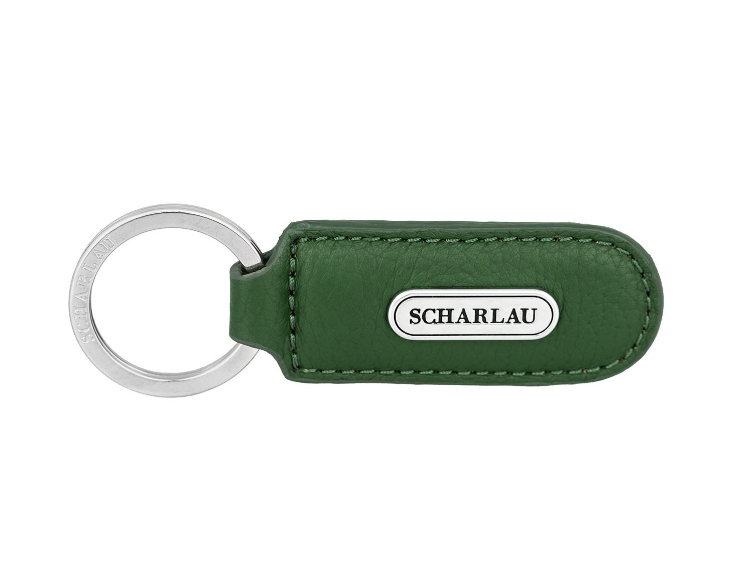 Leather elongate keyring in green front
