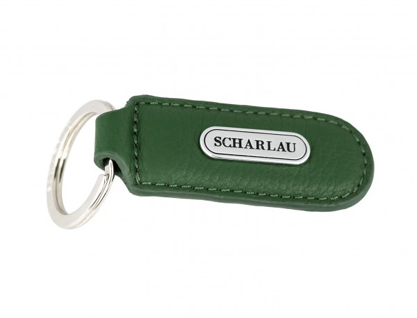 Leather elongate keyring in green side