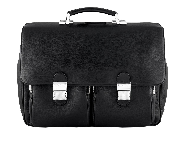 leather flap large briefbag for men in black front