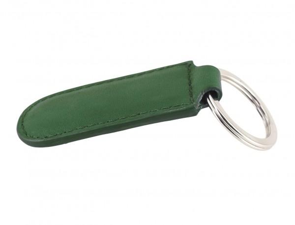 Leather elongate keyring in green back