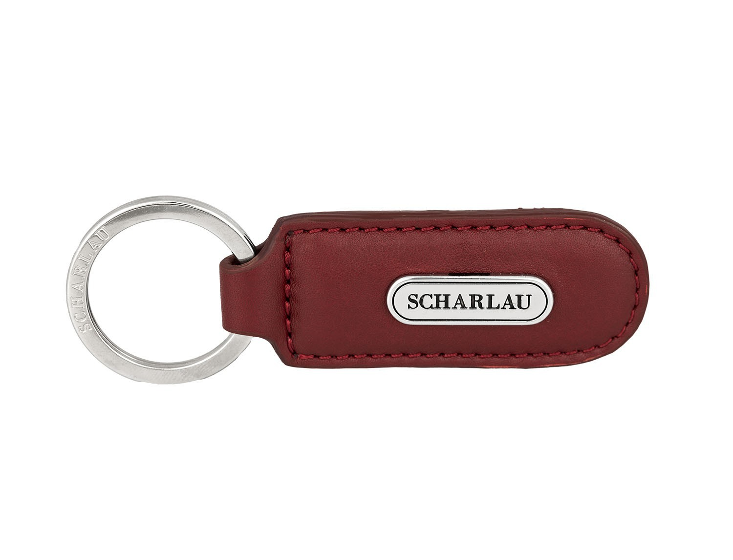 Leather elongate keyring in red front