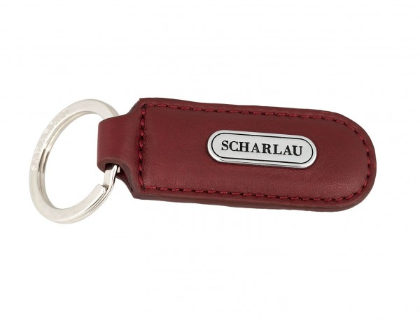 Leather elongate keyring in red side