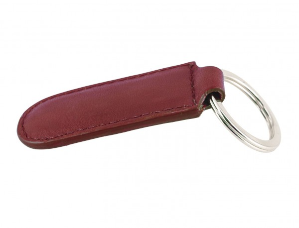 Leather elongate keyring in red back
