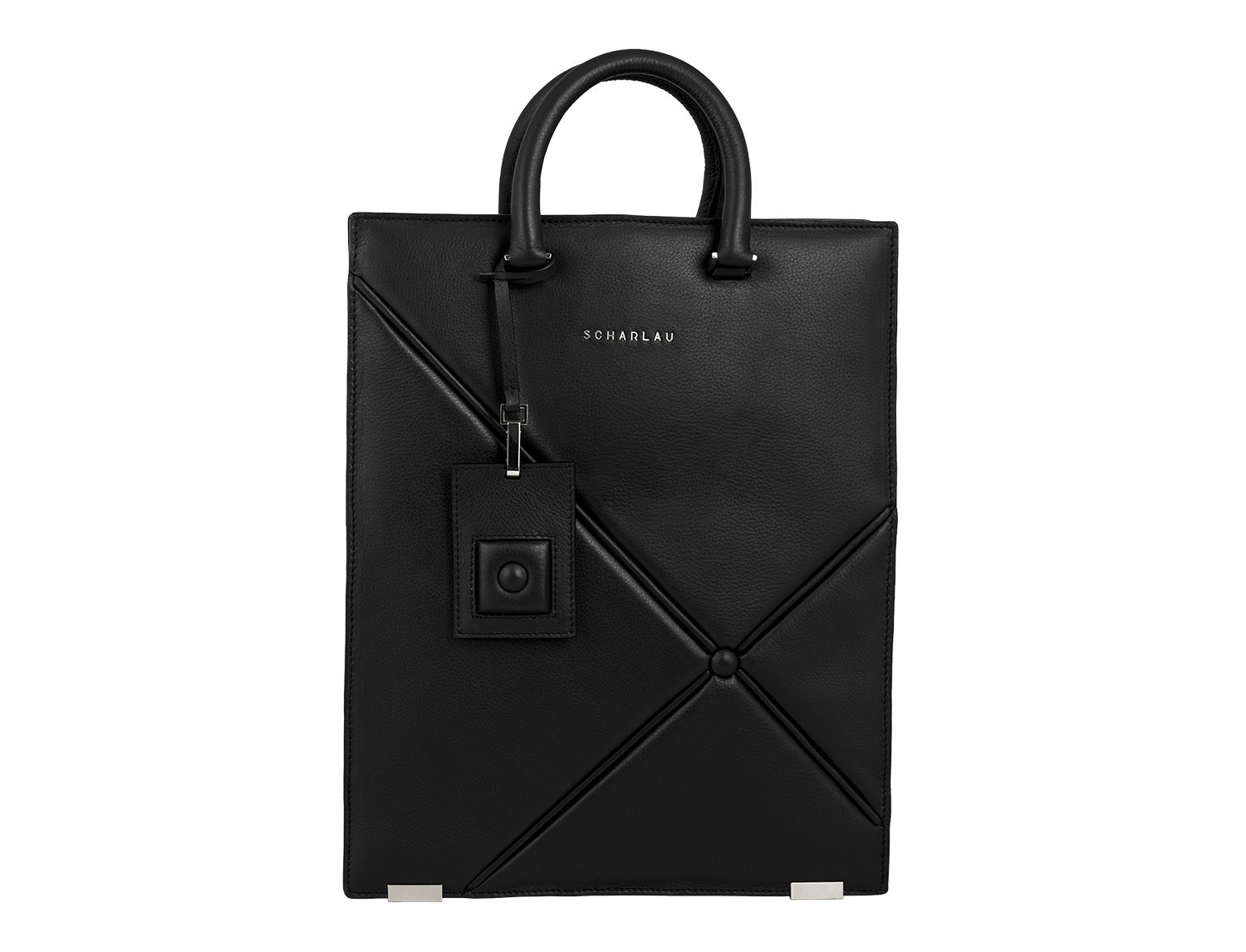 leather business bag woman black front