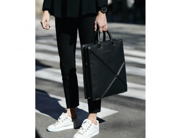 leather business bag woman black lifestyle