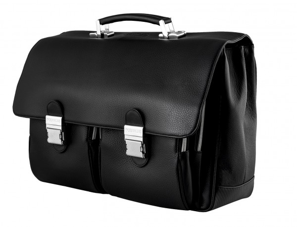 leather flap large briefbag for men in black lateral