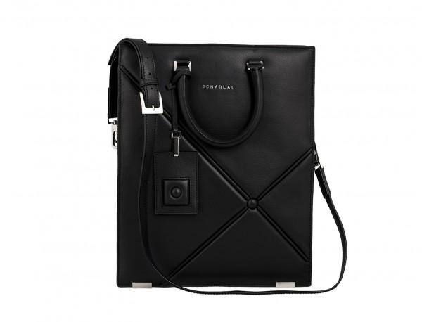 bolso para portátil de mujer negro frontal con bandolera