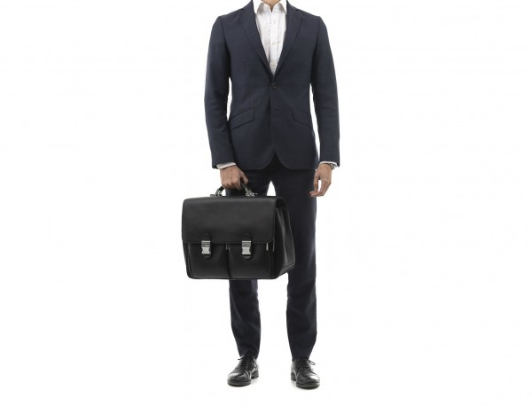 leather flap large briefbag for men in black  model