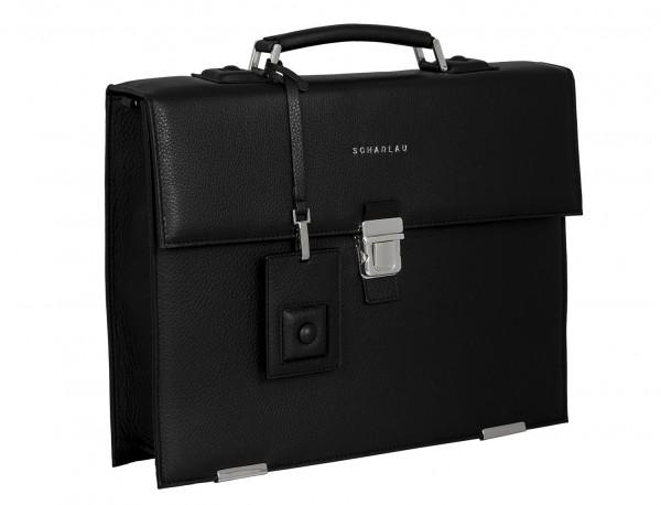 maletín con solapa de piel negro lateral