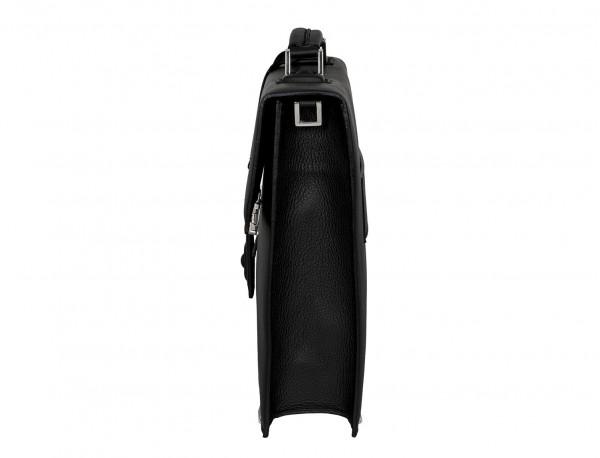 maletín con solapa de piel negro lado