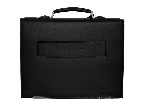 maletín con solapa de piel negro detrás