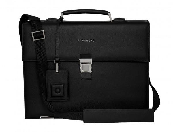 borsa da lavoro in pelle nera front
