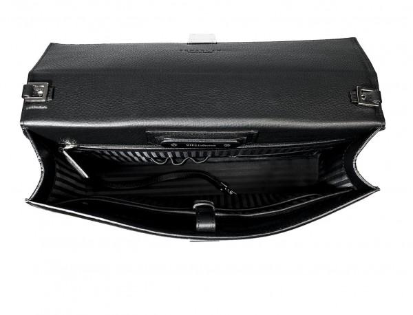maletín con solapa de piel negro abierto