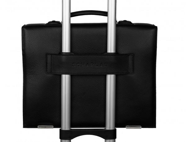 maletín con solapa de piel negro trolley