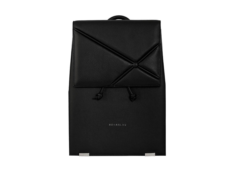 leather backpack black front