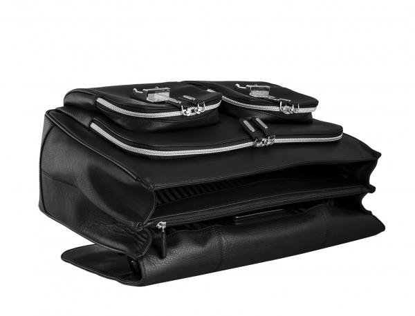 leather flap large briefbag for men in black tumbado