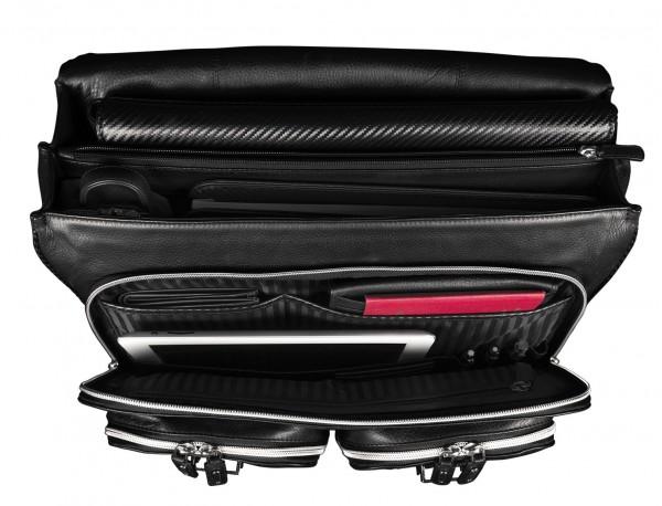 leather flap large briefbag for men in black open