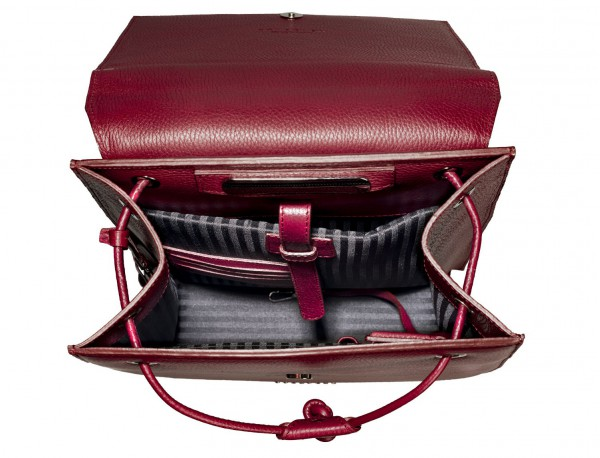 leather backpack berry inside