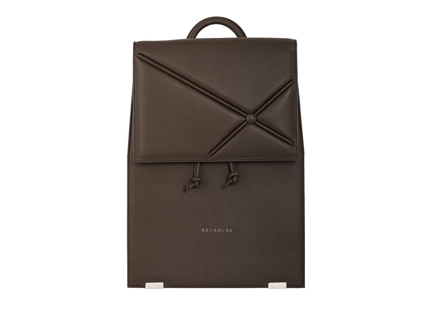 leather backpack brown front