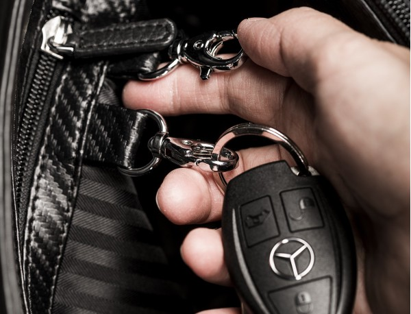 leather flap large briefbag for men in black detail