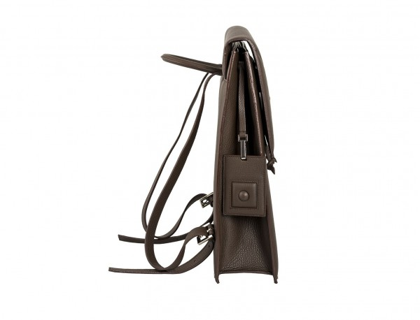 leather backpack brown side
