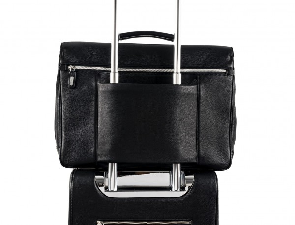leather flap large briefbag for men in black trolley