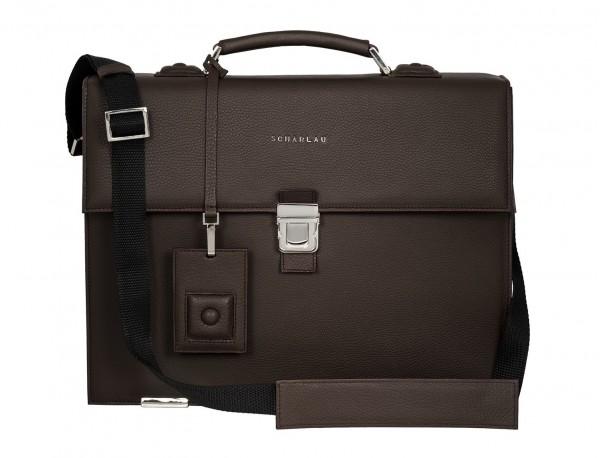 maletín con solapa de piel marrón interior