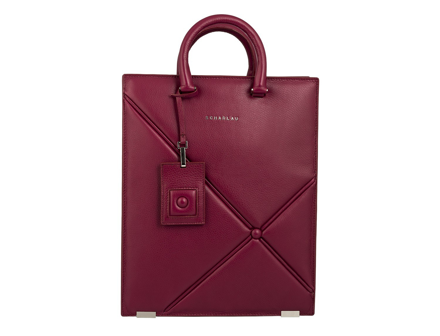 leather business bag woman berry front