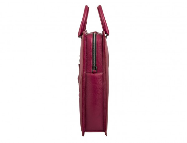 leather business bag woman berry side detail