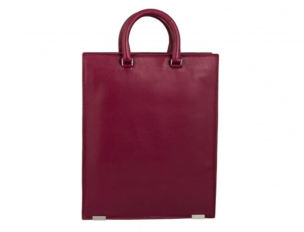 leather business bag woman berry  back